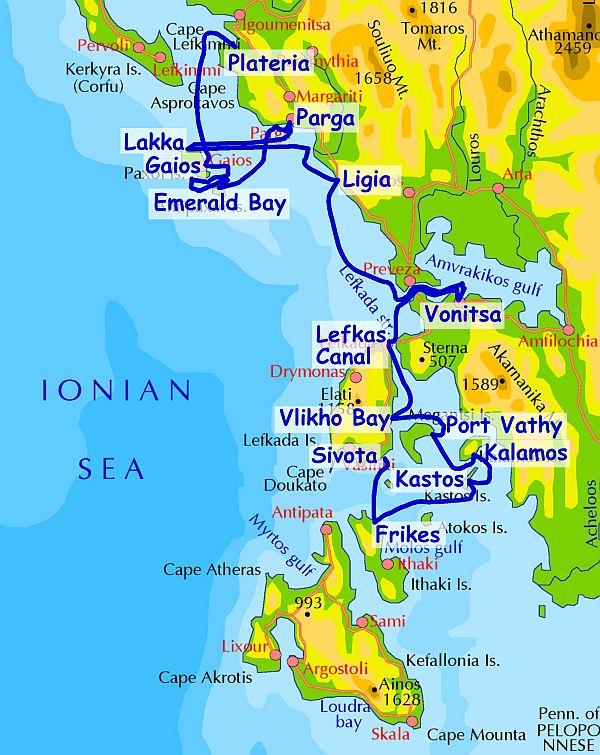 Sailing Flotilla - Kismet Route