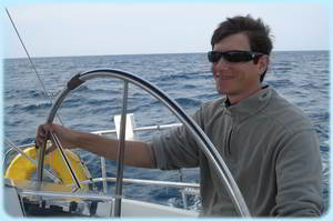 Sailing Greek Islands - Son in Law at the Helm